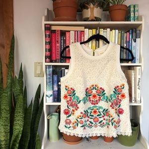 Anthropologie Maeve floral embroidered lace tank